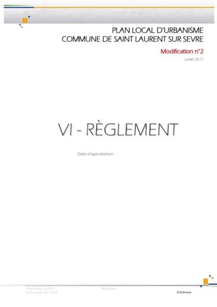 thumbnail of PLU Saint Laurent sur Sèvre – Règlement – Modification n2